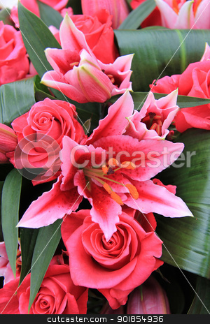pink tiger lily and rose arrangement stock photo, roses and tiger lily combined in a mixed flower arrangement by Porto Sabbia