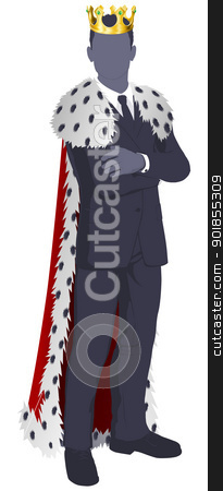 King of business stock vector clipart, The king of business conceptual illustration. Businessman dressed as a king.  by Christos Georghiou