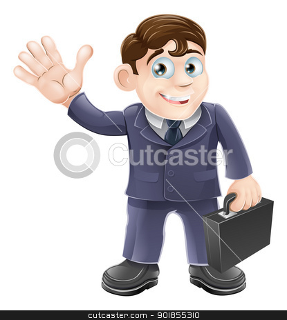Happy cartoon business man stock vector clipart, Illustration of a happy smiling cartoon business man waving and holding a briefcase by Christos Georghiou