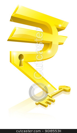 Rupee key lock concept stock vector clipart, Conceptual illustration of a gold Rupee sign and key. Concept for unlocking financial success or cash or for financial security. by Christos Georghiou