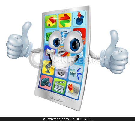 Smiling mobile phone mascot  stock vector clipart, Very happy mobile phone mascot giving two thumbs up  by Christos Georghiou