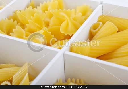 Pasta stock photo, Some different kinds of Italian pasta in a white box by Fabio Alcini