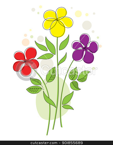 Colorful background with abstract flowers stock vector clipart, Colorful vector illustration with three funny abstract flowers by Allaya