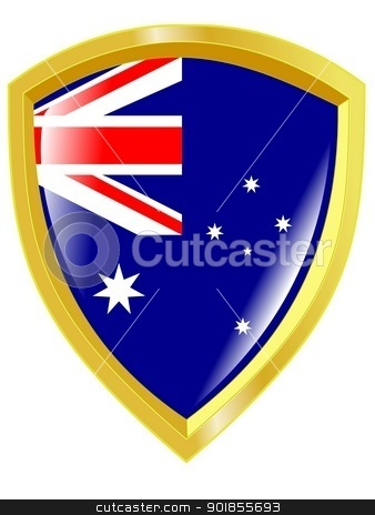 Coat of arms in national colours of Australia stock vector clipart, Coat of arms in national colours of Australia by Oleksandr Kovalenko