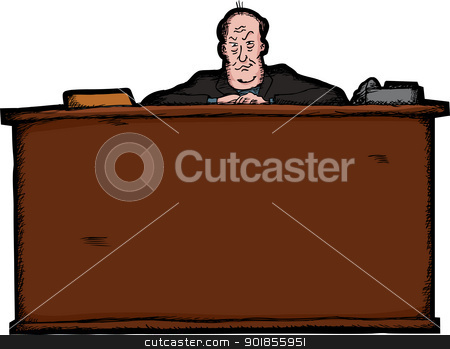 Boss Behind Desk stock vector clipart, Intimidating bald businessman behind a large desk by Eric Basir