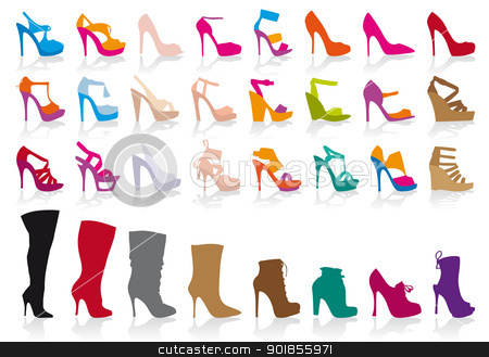 colorful shoes, vector set stock vector clipart, set of detailed colorful shoes, vector illustration by Beata Kraus