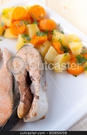 Salmon steaks with vapor cooked veggies stock photo, Dish of salmon steaks and vapor cooked veggies by Giordano Aita