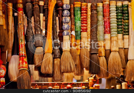 Chinese Colorful Souvenir Ink Brushes Beijing, China stock photo, Chinese Colorful Souvenir Ink Brushes Beijing, China by William Perry