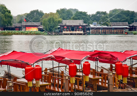 Red Boats Houhai Lake Beijing, China stock photo, Red Boats Houhai Lake Beijing, China.  Houhai Lake is the old swimming hole in Beijing and is now surrounded by bars and restaurants. by William Perry