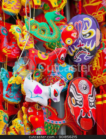 Chinese Colorful Souvenir Traditional Silk Decorations Beijing,  stock photo, Chinese Colorful Souvenir Silk Decorations Beijing, China.  These decorations are traditional Chinese symbols, including masks from Sichuan.  No trademarks. by William Perry