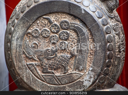 China Dragon Door Stone Houhai Beijing China stock photo, China Dragon Door Stone Houhai Beijing, China.  China door stones were used to symbolize status of officials under Emperor. by William Perry