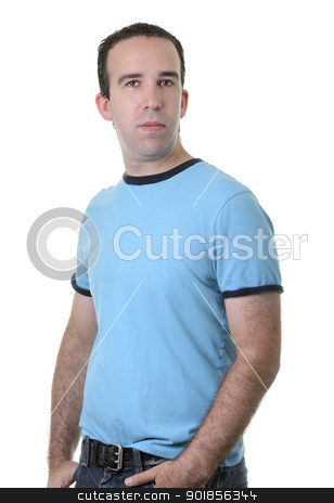 Half Body Portrait stock photo, Half body portrait of a regular guy isolated against a white background. by Richard Nelson