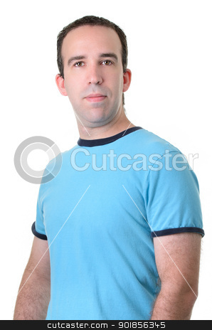 Average Guy stock photo, Half body shot of an average guy wearing a blue shirt, isolated against a white background. by Richard Nelson