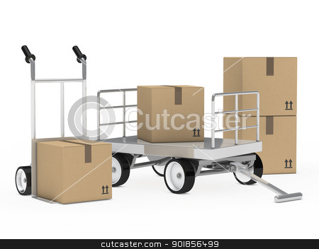 trolly and hand truck packages  stock photo, transport trolly and hand truck with packages  by d3images