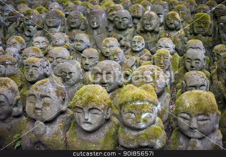 Otagi Nenbutsu-ji Rakan Statues stock photo, Humorous Rakan sculptures at Otagi Nenbutsu-ji Temple, Kyoto, Japan, Pictured with a narrow depth of field by Stephen Gibson