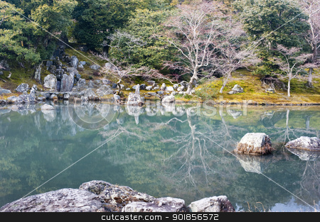 Tenryu Shiseizen-ji stock photo, The Sogen Pond Japanese Garden at the Tenryu-Ji Temple complex, Kyoto, Japan by Stephen Gibson