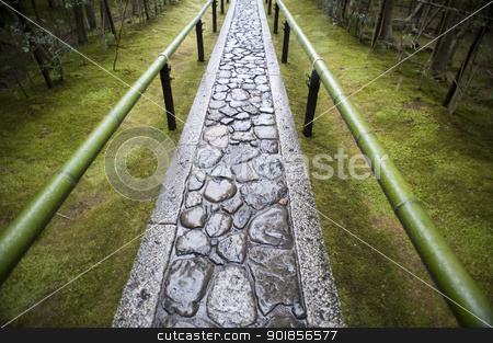 Zen Temple Path stock photo, Stone path at Koto-in sub temple of Daitoku-ji in Kyoto, Japan by Stephen Gibson