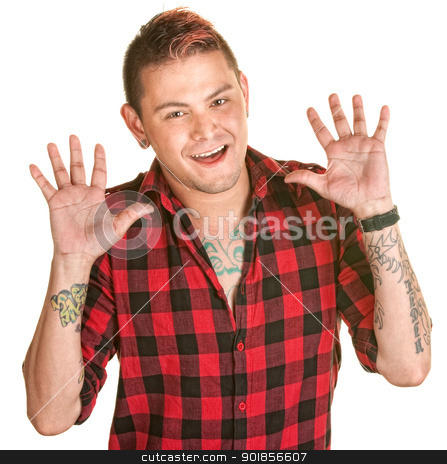 Male with Hands Open stock photo, Happy Latino man with spiky hair and hands in the air by Scott Griessel