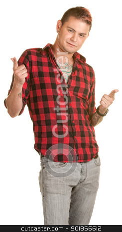 Cool Young Man Pointing stock photo, Laid back male with fingers pointed over white background by Scott Griessel