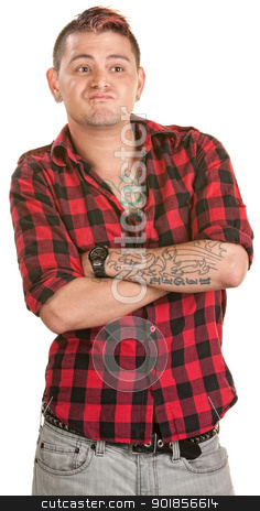 Pouting Man with Folded Arms stock photo, Chilidish pouting man with folded arms over white by Scott Griessel