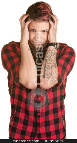 Man in Pain Holding Head stock photo, Young male in flannel shirt holding his head by Scott Griessel