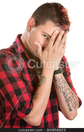 Man Hiding His Face stock photo, Male with spiky hair hiding behind his hands by Scott Griessel