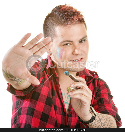 Painter in Flannel Shirt stock photo, Handsome young man with spiky hair paintbrush by Scott Griessel