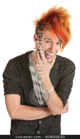 Man with Spiked Hair Laughing stock photo, Laughing man with spiky hair over white background by Scott Griessel