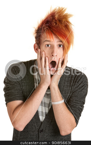 Surprised Man with Spiky Hair stock photo, Shocked man in orange spiky hair over white background by Scott Griessel