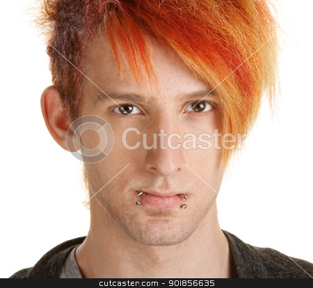 Man in Orange Hair stock photo, Young man with orange hair over white background by Scott Griessel