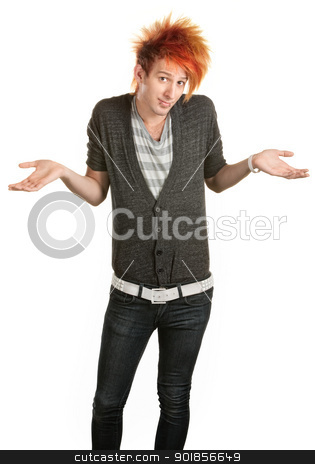 Teen With Mohawk stock photo, Young man in mohawk with hunched shoulders and palms up by Scott Griessel