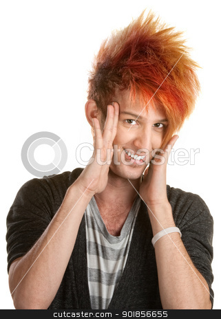 Teen With Hands on Face stock photo, Caucasian teenage male with hands on side of face by Scott Griessel