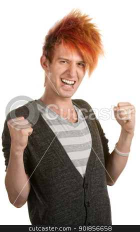 Cheering Teen with Mohawk stock photo, Excited teen Caucasian with orange hair holding arms up by Scott Griessel