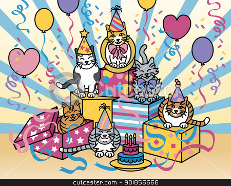 Party Cats stock vector clipart, Vector illustration of cats celebrating at a party. by Lisa Fischer