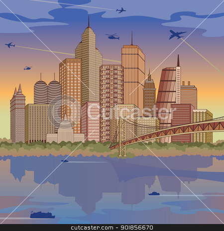 International Metropolis stock vector clipart, Panoramic illustration of a generic global city during the daytime. Buildings are grouped for easy editing. by Lisa Fischer