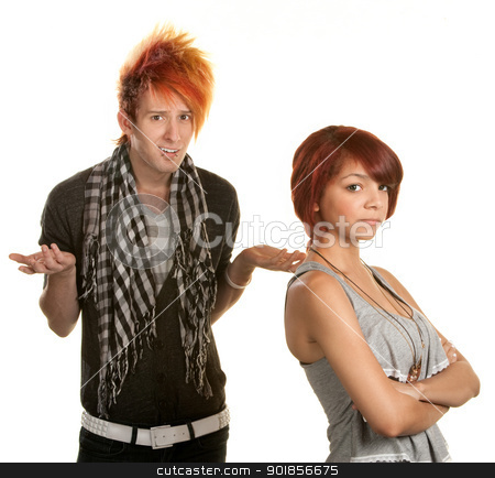 Frustrated Boyfriend stock photo, Mad young teenage couple over white background by Scott Griessel