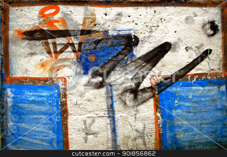 Background of white wall painted graffiti  stock photo, Background of white wall painted graffiti. Teenagers vandalism.  by sauletas