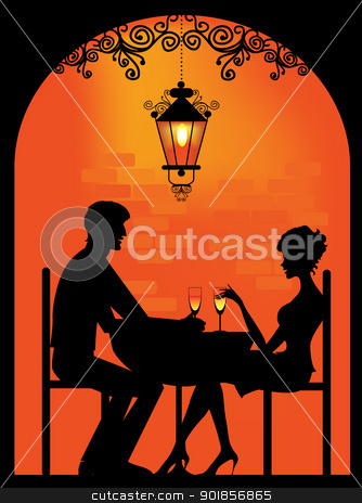 Silhouette of a Couple at restaurant stock vector clipart, Vector silhouette of a couple dinning at cellar restaurant with soft lantern light by Vanda Grigorovic