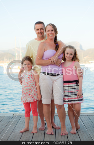 family vacation stock photo, happy smiling family group on summer vacation. by mandygodbehear