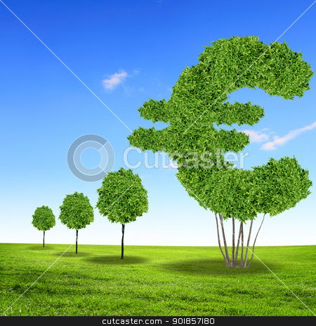 Green grass euro symbol stock photo, Green grass euro symbol against blue sky by Sergey Nivens