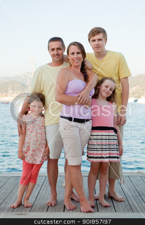 summer holiday family stock photo, happy smiling summer holiday or vacation family group by mandygodbehear