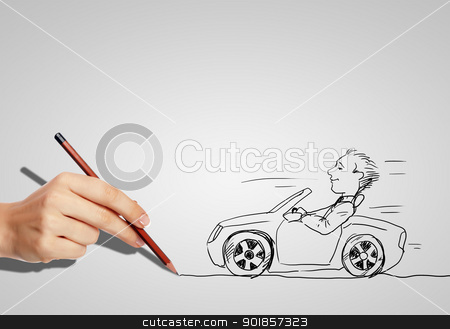 Drawing of a man in a car stock photo, Drawing of a man in a car and hand with pencil by Sergey Nivens