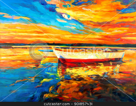 Boats  stock photo, Original oil painting of boat and sea on canvas.Sunset over ocean.Modern Impressionism by borojoint