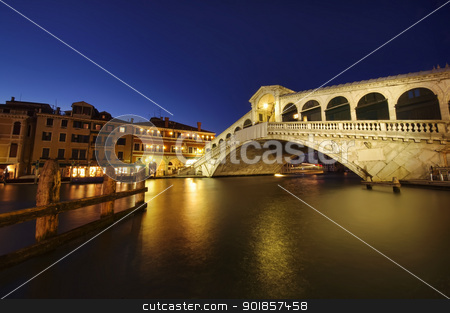 Venice at night stock photo, Rialto bridge at night, Venice, Italy by Ioan Panaite