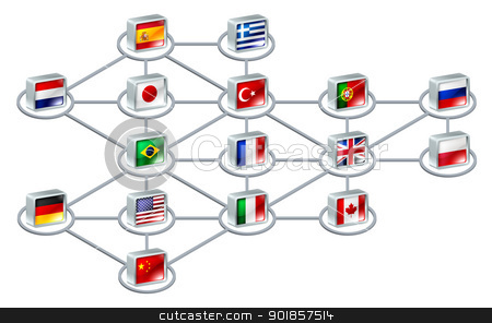 World network concept stock vector clipart, World network concept of connections between different countries or of an international team by Christos Georghiou