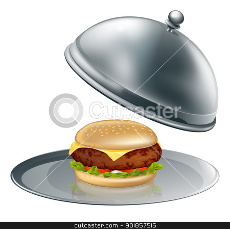 Cheese burger on silver platter stock vector clipart, Illustration of a cheese burger on silver platter. Could be a concept for inflated worth or luxury burgers.  by Christos Georghiou