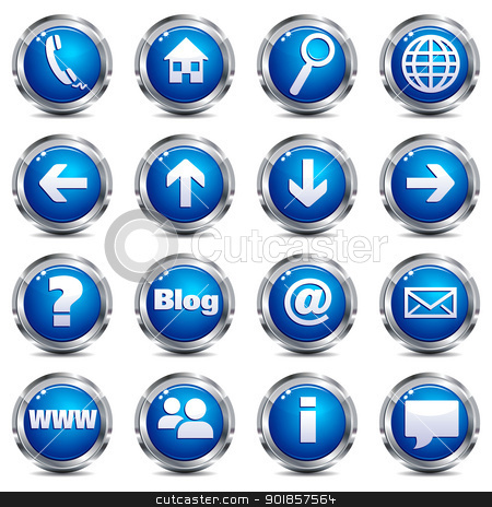 Web Site & Internet Icons - SET ONE stock vector clipart, A set of sixteen blue and silver internet icons All elements are grouped and on individual layers in the vector file for easy use. by Fenton