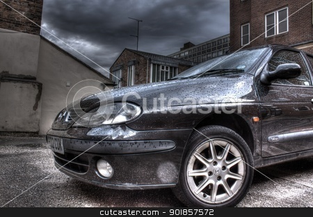 Black car in the rain, hdr image stock photo, Black car in the rain, hdr image by bubu45