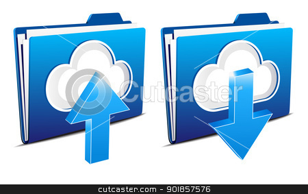 Cloud computing upload and download icons stock vector clipart, Upload and download folder icons from the virtual cloud by Fenton