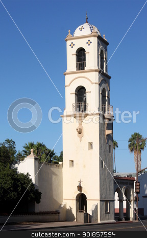 Ojai Post Office Tower stock photo, Post Office Tower in down town Ojai California by Henrik Lehnerer